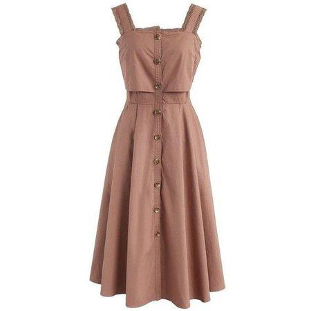 Beige Button Up No Sleeve Dress