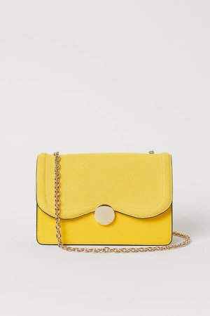 Suede-detail Shoulder Bag - Yellow