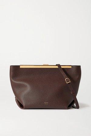 Augusta Textured-leather Shoulder Bag - Dark brown