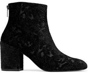 Embossed Velvet Ankle Boots
