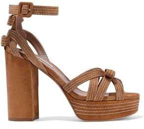 Goldy Bow-embellished Suede Platform Sandals