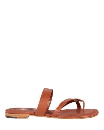 Manolo Blahnik Susa Leather Flat Sandals   INTERMIX®