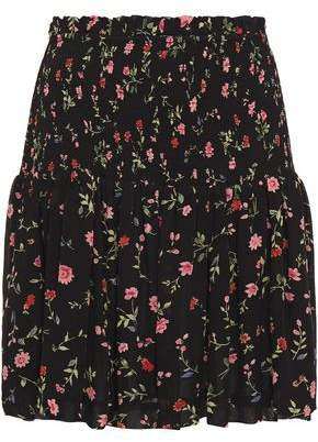 Elm Shirred Floral-print Georgette Mini Skirt