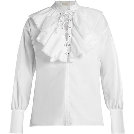 Etro Anet fluted-bib cotton blouse