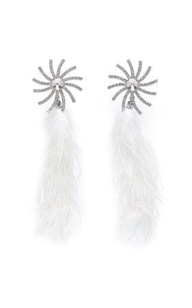 Crystal Star Earrings With Marabou Feathers by Alessandra Rich | Moda Operandi