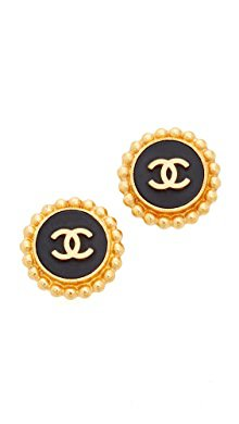 What Goes Around Comes Around Chanel Bevel CC Earrings (Previously Owned)   SHOPBOP