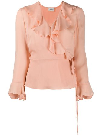 Shop pink Etro frill detail blouse with Express Delivery - Farfetch