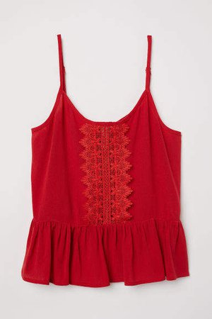 Lace-trimmed Camisole Top - Red
