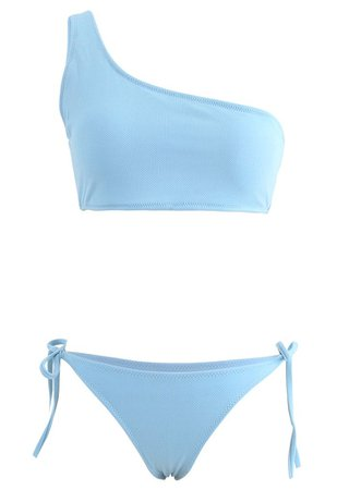 One-Shoulder Tie Side Low Rise Bikini Set in Blue - Retro, Indie and Unique Fashion