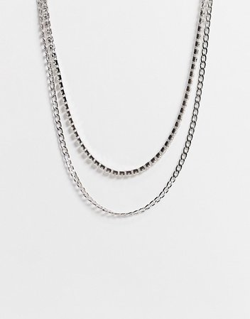 ASOS DESIGN multirow necklace with slinky chain and crystals in silver tone | ASOS
