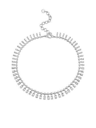 SHAY 18kt white gold dot dash diamond choker - FARFETCH