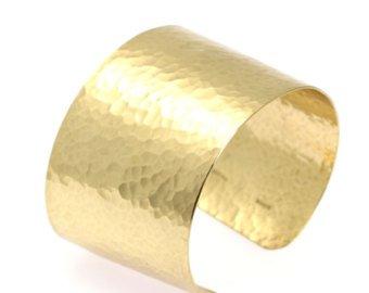 Hammered Gold Cuff Bracelet Wide Gold Cuff Statement Gold   Etsy