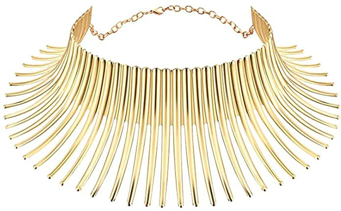 Amazon.com: Mrotrida Women's Big African Necklace Indian Style Bending Alloy Big Thorn Statement Collar Choker Gold: Clothing