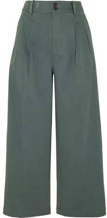 Pleated Cotton-blend Twill Wide-leg Pants - Green