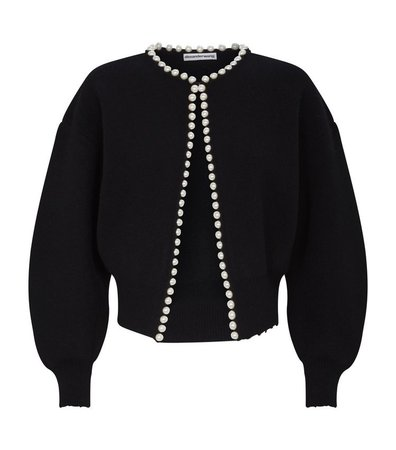 ALEXANDER WANG Pearl Placket Cropped Cardigan In Black