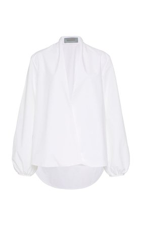 Cortona Collarless Cotton White Shirt