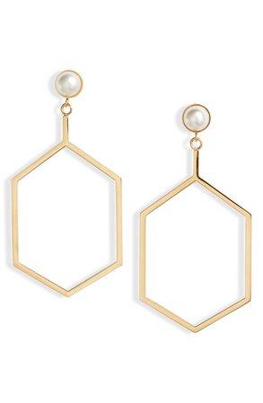 Knotty Hexagon Imitation Pearl Drop Earrings | Nordstrom
