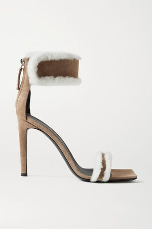 Kanda Shearling-trimmed Suede Sandals - Tan
