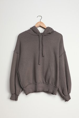 Washed Grey Hoodie - Fleece Sweatshirt - Hooded Sweatshirt