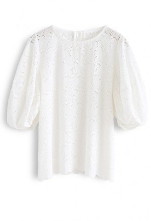 Full Flowers Embroidered Eyelet Puff Sleeves Top in White - NEW ARRIVALS - Retro, Indie and Unique Fashion