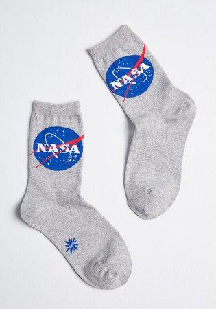 Twinkle Little Star NASA Crew Socks Silver NASA   ModCloth