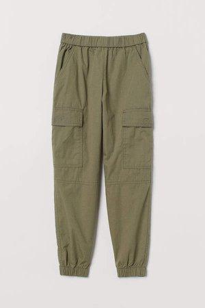 Cotton Cargo Pants - Green