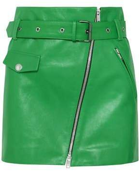 Belted Zip-detailed Leather Mini Skirt