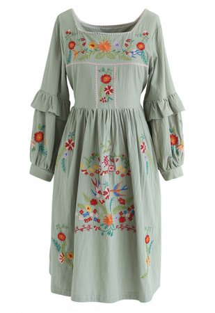 Square Neck Boho Embroidered Ruffle Dress - NEW ARRIVALS - Retro, Indie and Unique Fashion green
