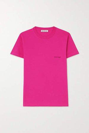 Printed Cotton-jersey T-shirt - Pink
