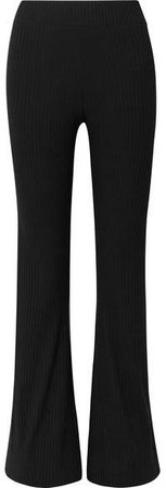 calé - Angelique Ribbed Stretch-jersey Flared Pants - Black
