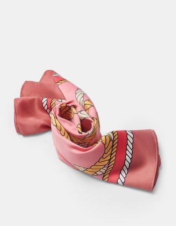 Pañuelo cuerdas rosa - Bufandas y pañuelos de mujer | Stradivarius