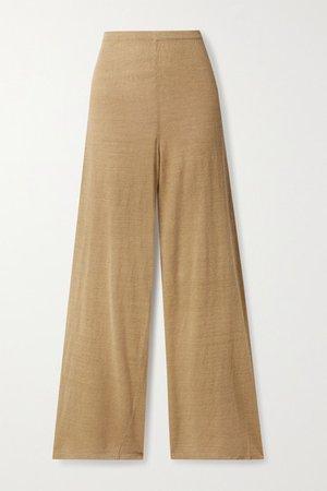 Shauna Linen-blend Wide-leg Pants - Camel