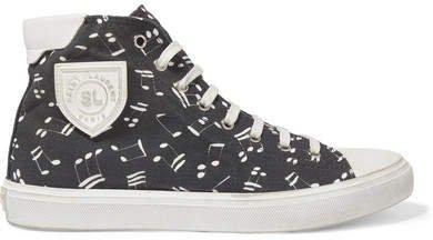 Bedford Distressed Printed Canvas High-top Sneakers - Black