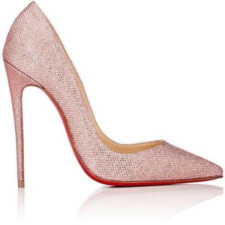 louboutin pink sparkling shoe