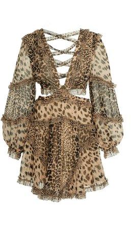 Allia Cutout Leopard-Print Chiffon Mini Dress