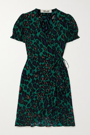 Emilia Ruffled Leopard-print Crepe Wrap Mini Dress. - Green