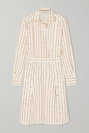 Printed Silk-crepe Shirt Dress - Ivory