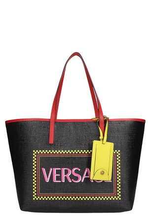 Versace Black Leather Tote Bag