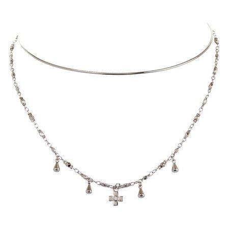 Cosmic Cross Tie Necklace- Silver   Luv Aj