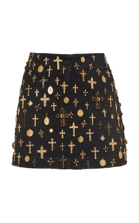 Dolce & Gabbana Cross-Embellished Denim Mini Skirt