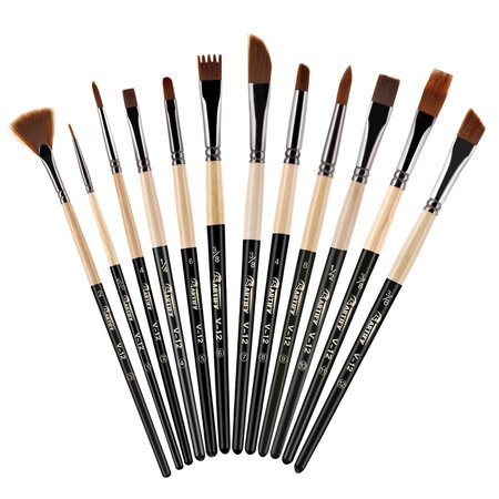 Artify 2018 New 12 Pcs Paint Brush Set with Amber Nylon Hairs Perfect for Acrylic, Oil, Watercolor, Gouache and Face Painting Artify Art Supplies [1540895213-14572] - $7.65