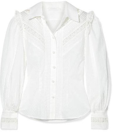 Honour Lace-trimmed Swiss-dot Cotton-voile Shirt - White