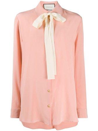 Gucci Camisa Con Lazo En El Cuello - Farfetch