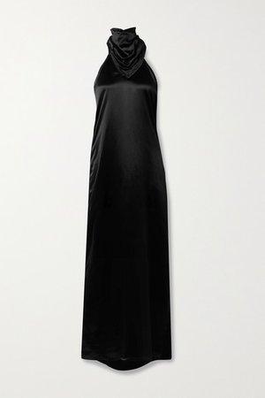 Open-back Cupro-satin Halterneck Gown - Black