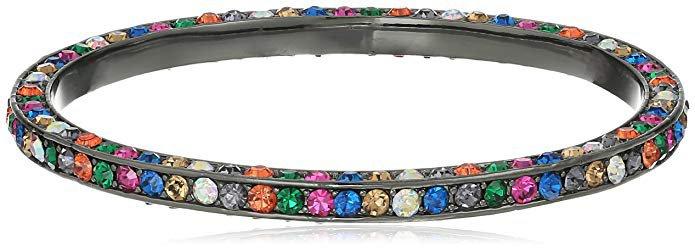 "Amazon.com: Betsey Johnson ""Confetti"" Pave Mixed Multi-Colored Stone Bangle Bracelet: Gateway"