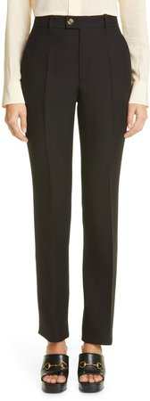 Silk & Wool Cady Crepe Straight Leg Pants