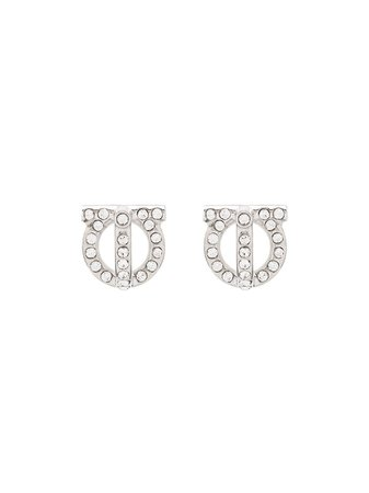 Salvatore Ferragamo Gancini Crystal Earrings