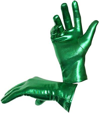 Seeksmile Costume Shiny Metallic Gloves Green