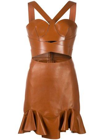 Alexander McQueen Halterneck Short Leather Dress - Farfetch