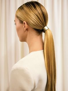 Blonde Sleek Low Ponytail